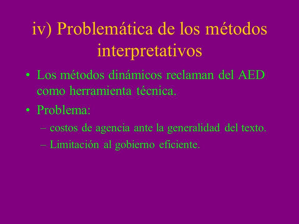 iv) Problemática de los métodos interpretativos Los métodos dinámicos reclaman del AED como herramienta técnica. Problema: –costos de agencia ante la