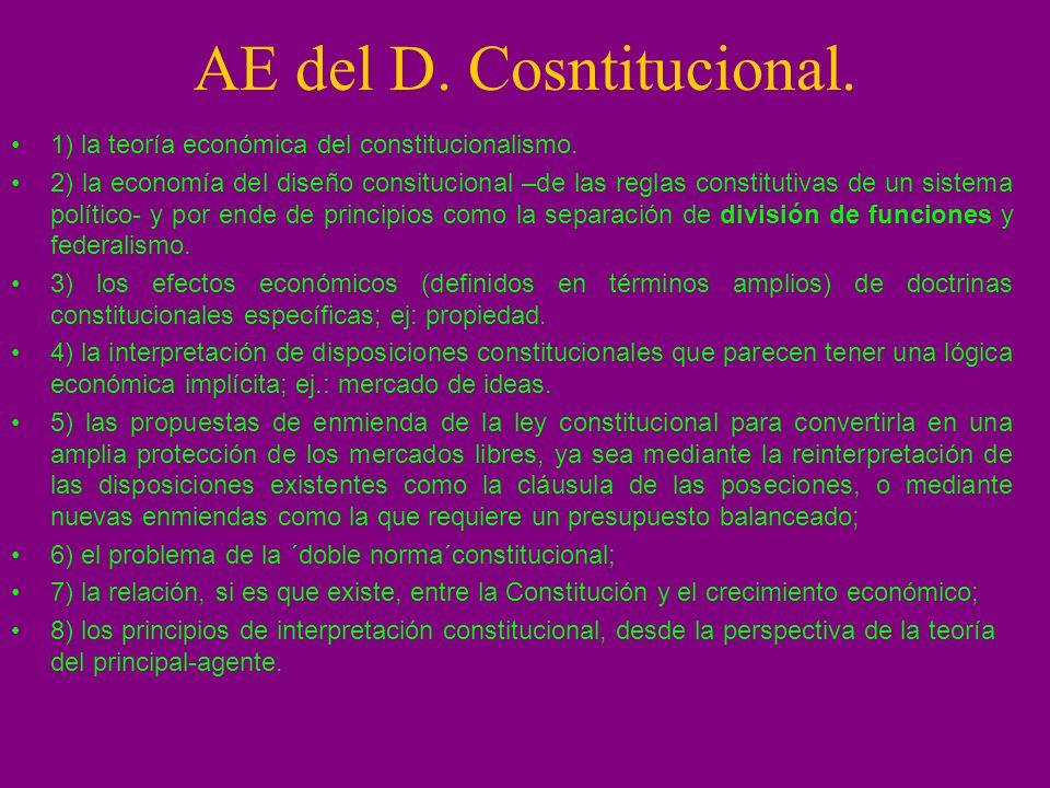 AE del D. Cosntitucional. 1) la teoría económica del constitucionalismo. 2) la economía del diseño consitucional –de las reglas constitutivas de un si