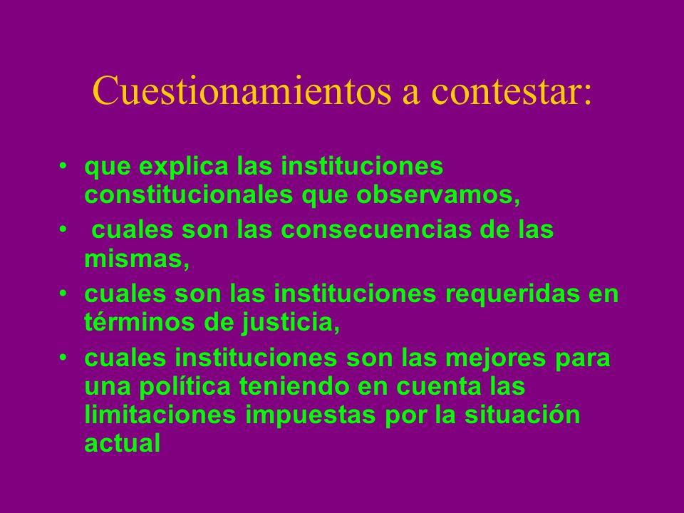 Cuestionamientos a contestar: que explica las instituciones constitucionales que observamos, cuales son las consecuencias de las mismas, cuales son la
