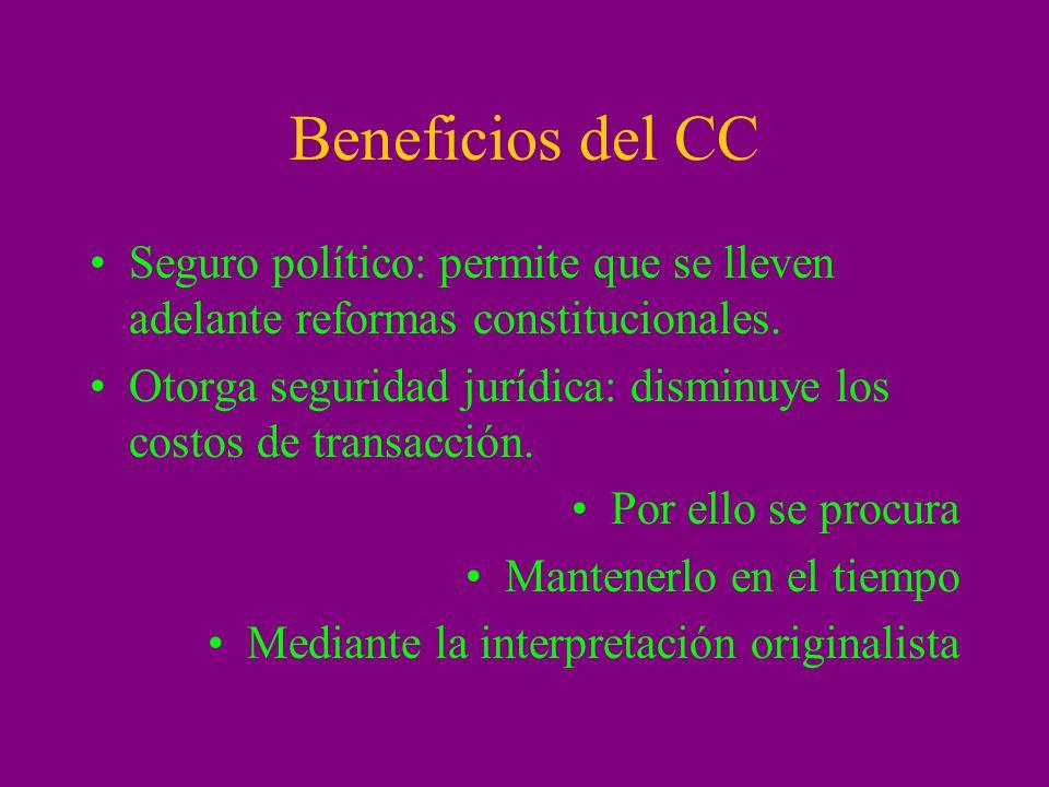 Beneficios del CC Seguro político: permite que se lleven adelante reformas constitucionales. Otorga seguridad jurídica: disminuye los costos de transa