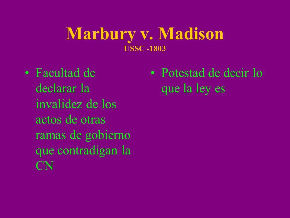 Marbury v. Madison USSC -1803 Facultad de declarar la invalidez de los actos de otras ramas de gobierno que contradigan la CN Potestad de decir lo que