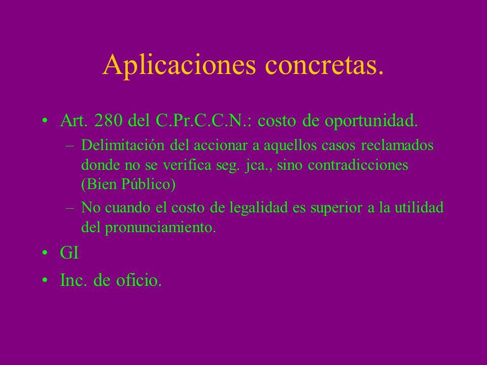 Aplicaciones concretas. Art. 280 del C.Pr.C.C.N.: costo de oportunidad. –Delimitación del accionar a aquellos casos reclamados donde no se verifica se