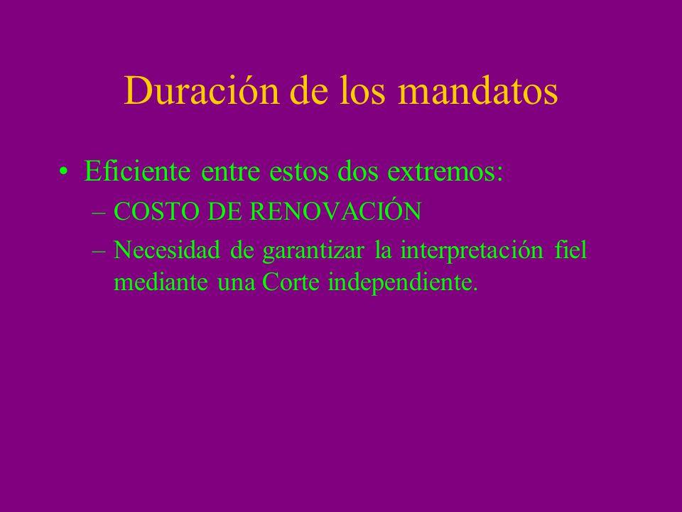 Duración de los mandatos Eficiente entre estos dos extremos: –COSTO DE RENOVACIÓN –Necesidad de garantizar la interpretación fiel mediante una Corte i