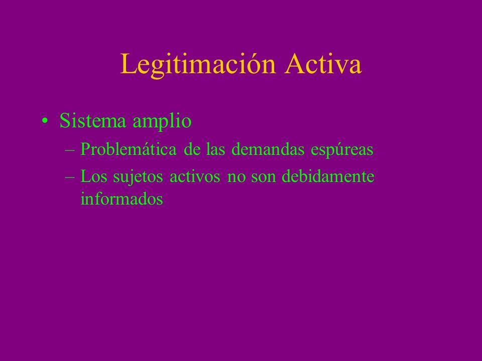 Legitimación Activa Sistema amplio –Problemática de las demandas espúreas –Los sujetos activos no son debidamente informados