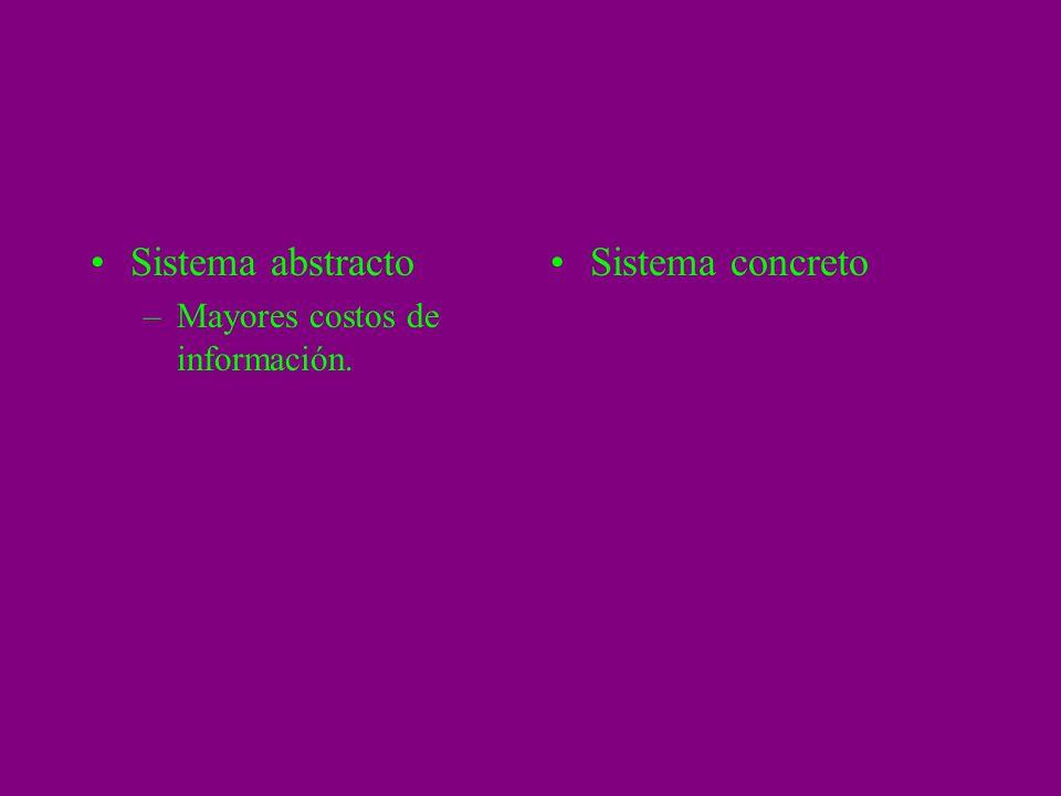 Sistema abstracto –Mayores costos de información. Sistema concreto