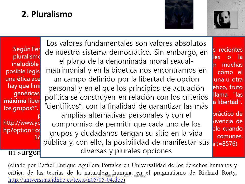 2 2. Pluralismo Hoy, se discute mucho sobre ética. Profesores de ética, filósofos, sociólogos, juristas e incluso teólogos han contribuido más a la co