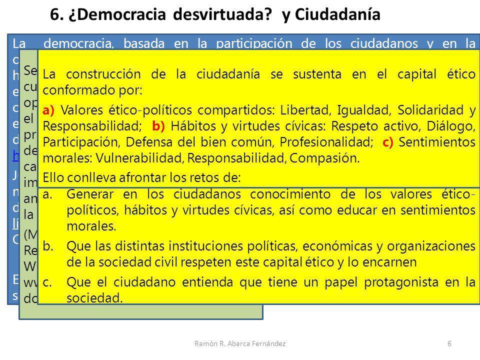 Ramón R. Abarca Fernández6 6. ¿Democracia desvirtuada? y Ciudadanía La democracia, basada en la participación de los ciudadanos y en la orientación de