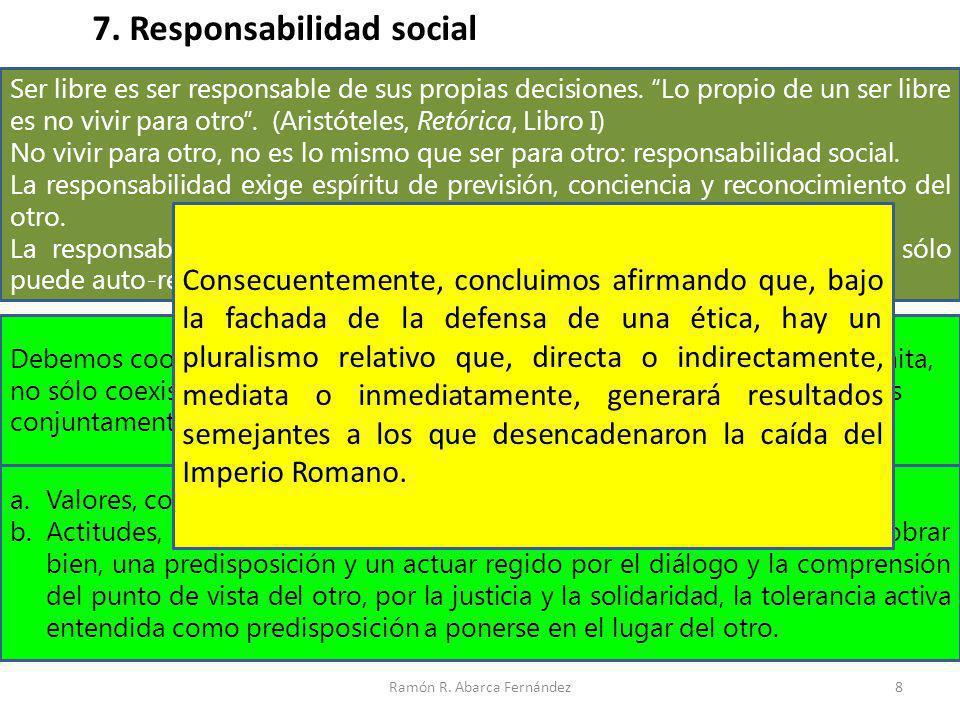 Ramón R. Abarca Fernández8 7. Responsabilidad social Ser libre es ser responsable de sus propias decisiones. Lo propio de un ser libre es no vivir par
