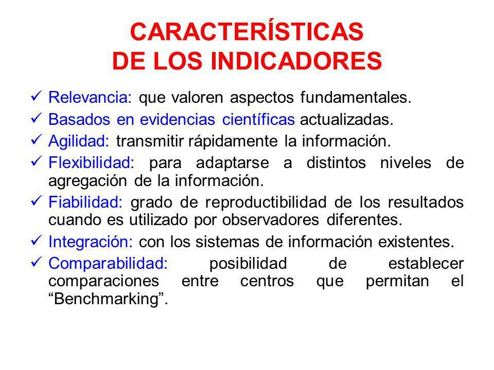 CARACTERÍSTICAS DE LOS INDICADORES Relevancia: que valoren aspectos fundamentales.