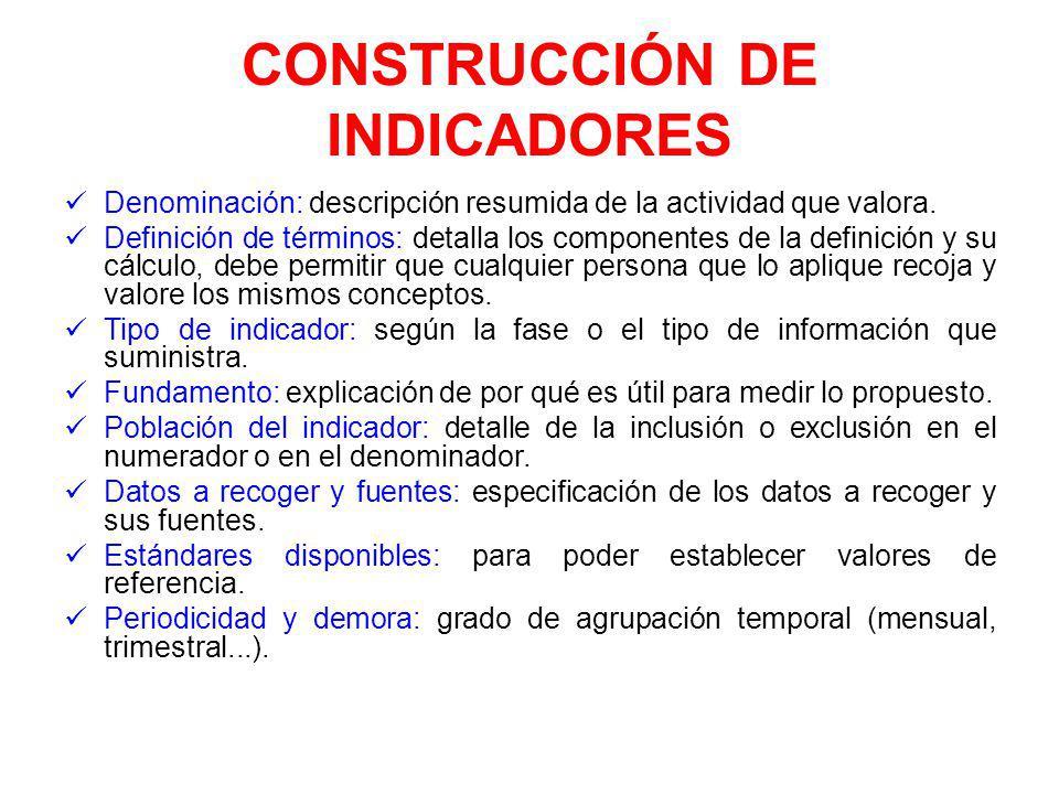 CONSTRUCCIÓN DE INDICADORES Denominación: descripción resumida de la actividad que valora.