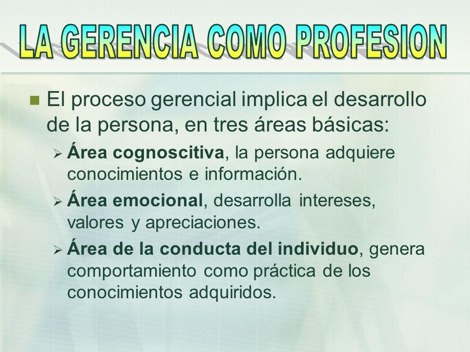 El proceso gerencial implica el desarrollo de la persona, en tres áreas básicas: Área cognoscitiva, la persona adquiere conocimientos e información. Á