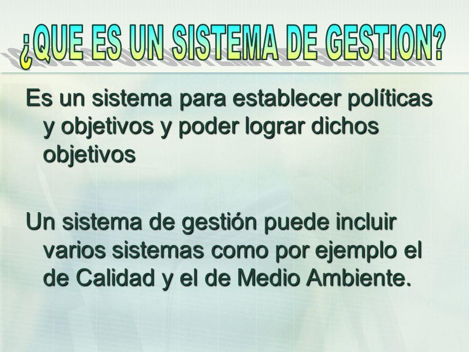 Es un sistema para establecer políticas y objetivos y poder lograr dichos objetivos Un sistema de gestión puede incluir varios sistemas como por ejemp