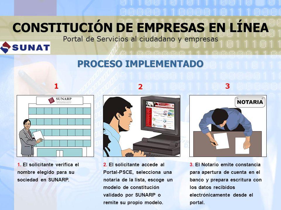 2. El solicitante accede al Portal-PSCE, selecciona una notaria de la lista, escoge un modelo de constitución validado por SUNARP o remite su propio m