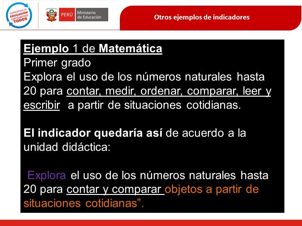 Otros ejemplos de indicadores Ejemplo 1 de Matemática Primer grado Explora el uso de los números naturales hasta 20 para contar, medir, ordenar, compa