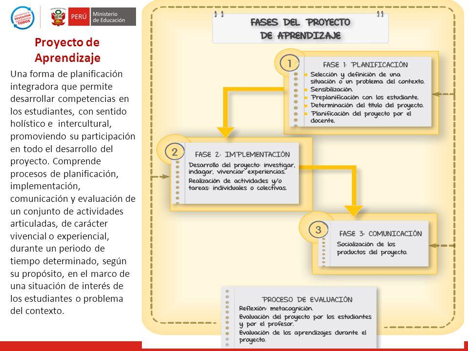Proyecto de Aprendizaje Una forma de planificación integradora que permite desarrollar competencias en los estudiantes, con sentido holístico e interc
