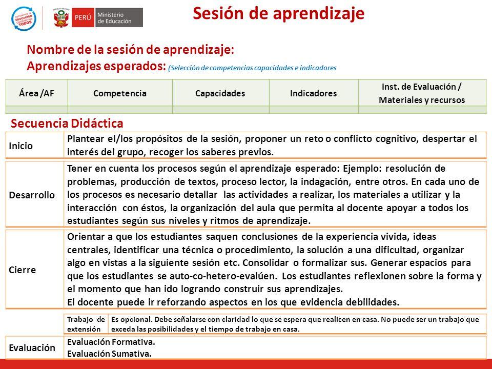 Sesión de aprendizaje Área /AFCompetenciaCapacidadesIndicadores Inst. de Evaluación / Materiales y recursos Nombre de la sesión de aprendizaje: Aprend