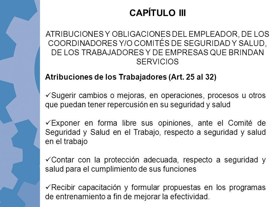 CAPÍTULO III ATRIBUCIONES Y OBLIGACIONES DEL EMPLEADOR, DE LOS COORDINADORES Y/O COMITÉS DE SEGURIDAD Y SALUD, DE LOS TRABAJADORES Y DE EMPRESAS QUE B