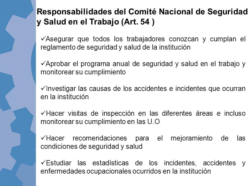 Asegurar que todos los trabajadores conozcan y cumplan el reglamento de seguridad y salud de la institución Aprobar el programa anual de seguridad y s