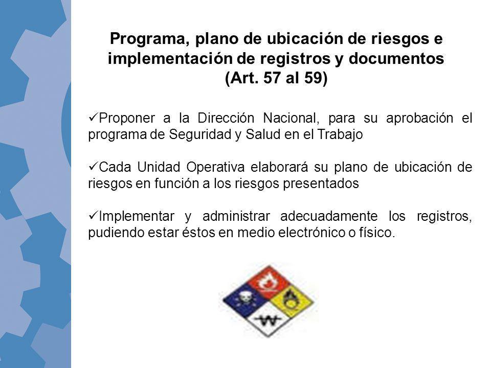 Programa, plano de ubicación de riesgos e implementación de registros y documentos (Art. 57 al 59) Proponer a la Dirección Nacional, para su aprobació