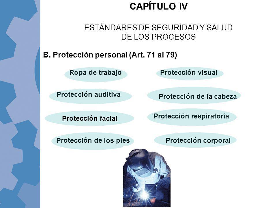 CAPÍTULO IV ESTÁNDARES DE SEGURIDAD Y SALUD DE LOS PROCESOS Ropa de trabajo Protección de la cabeza Protección visual Protección auditiva Protección c