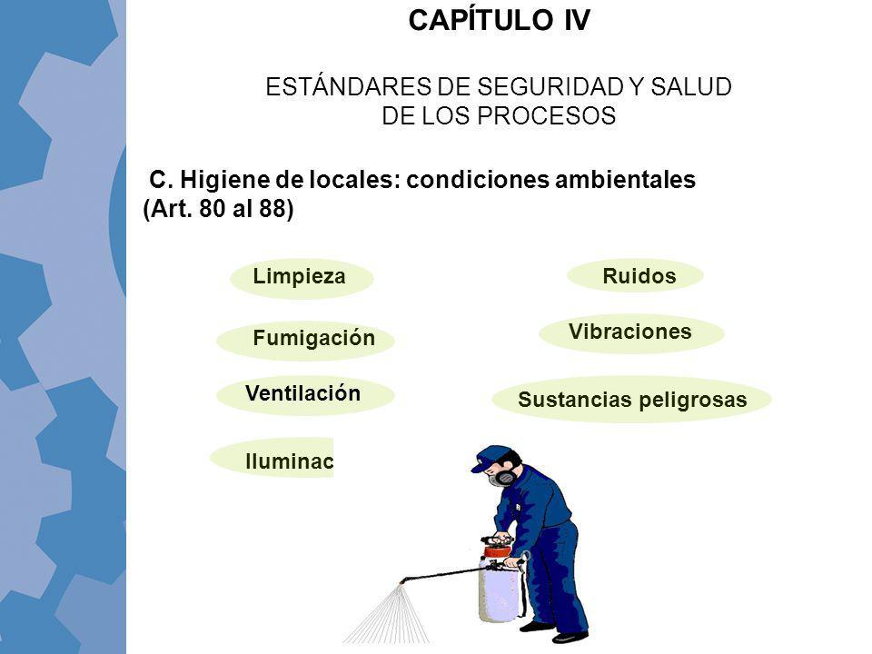 C. Higiene de locales: condiciones ambientales (Art. 80 al 88) CAPÍTULO IV ESTÁNDARES DE SEGURIDAD Y SALUD DE LOS PROCESOS Limpieza Vibraciones Ruidos