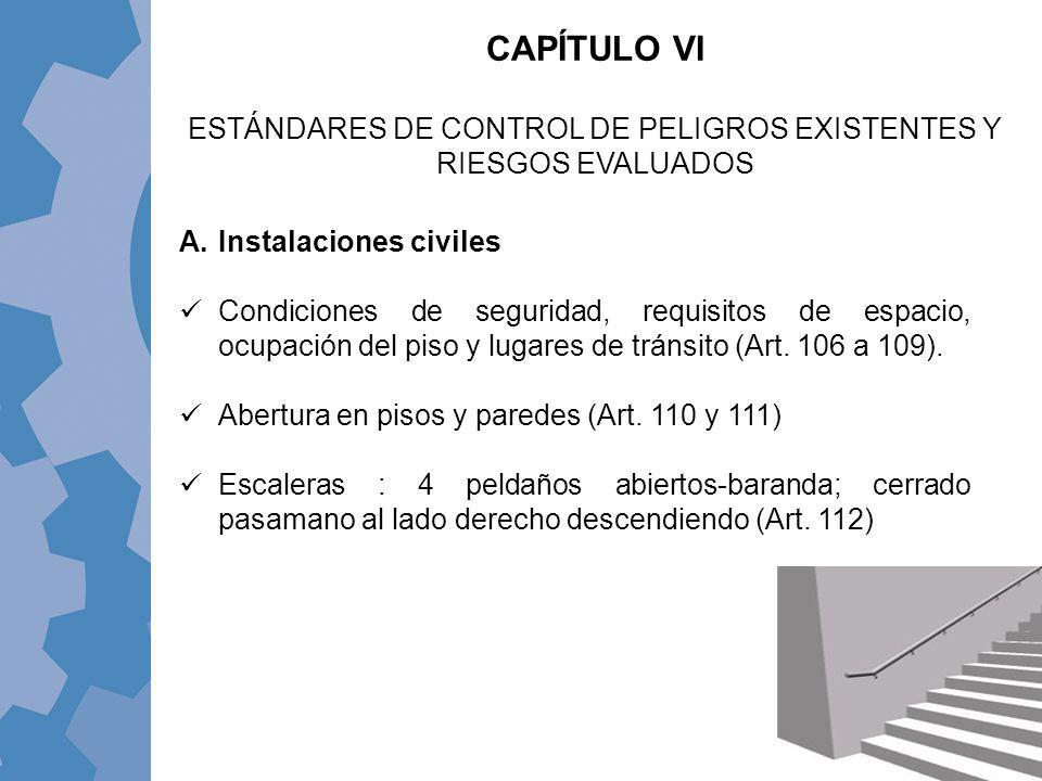 CAPÍTULO VI ESTÁNDARES DE CONTROL DE PELIGROS EXISTENTES Y RIESGOS EVALUADOS A.Instalaciones civiles Condiciones de seguridad, requisitos de espacio,