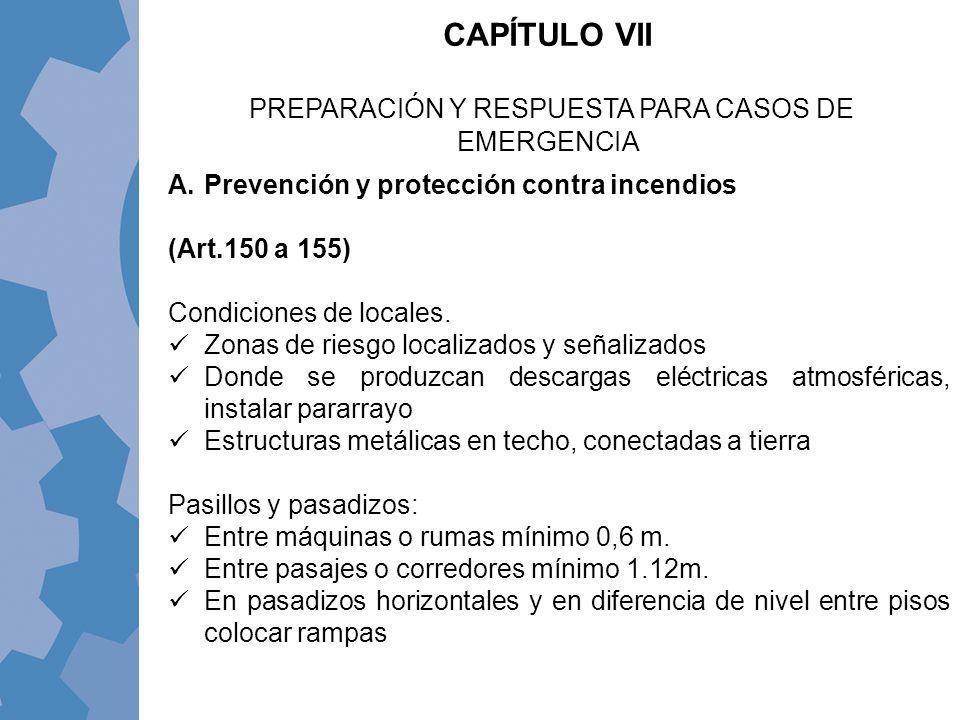 A.Prevención y protección contra incendios (Art.150 a 155) Condiciones de locales. Zonas de riesgo localizados y señalizados Donde se produzcan descar