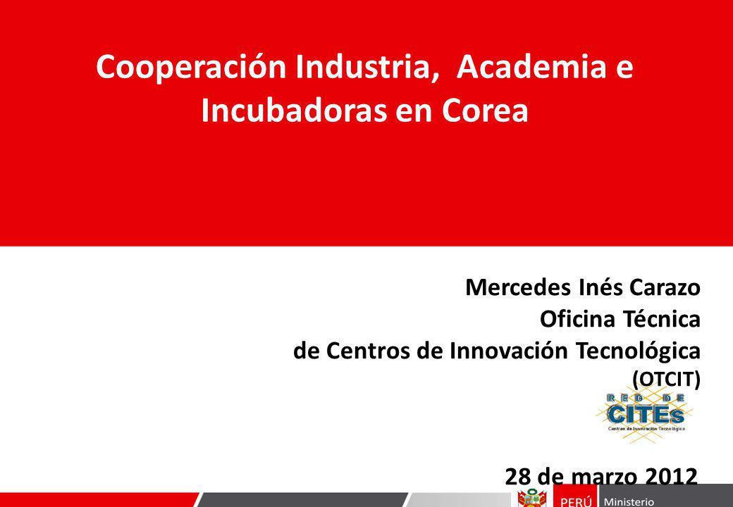 28 de marzo 2012 Cooperación Industria, Academia e Incubadoras en Corea Mercedes Inés Carazo Oficina Técnica de Centros de Innovación Tecnológica (OTCIT)