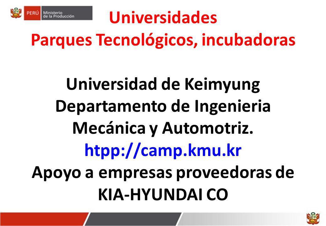 Universidades Parques Tecnológicos, incubadoras Universidad de Keimyung Departamento de Ingenieria Mecánica y Automotriz. htpp://camp.kmu.kr Apoyo a e