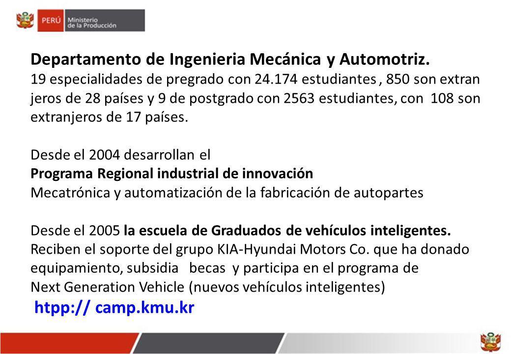 Departamento de Ingenieria Mecánica y Automotriz. 19 especialidades de pregrado con 24.174 estudiantes, 850 son extran jeros de 28 países y 9 de postg