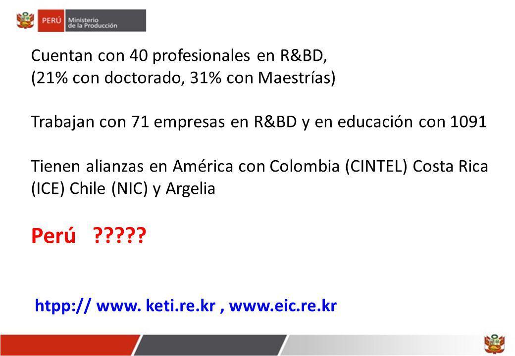 Cuentan con 40 profesionales en R&BD, (21% con doctorado, 31% con Maestrías) Trabajan con 71 empresas en R&BD y en educación con 1091 Tienen alianzas en América con Colombia (CINTEL) Costa Rica (ICE) Chile (NIC) y Argelia Perú ????.