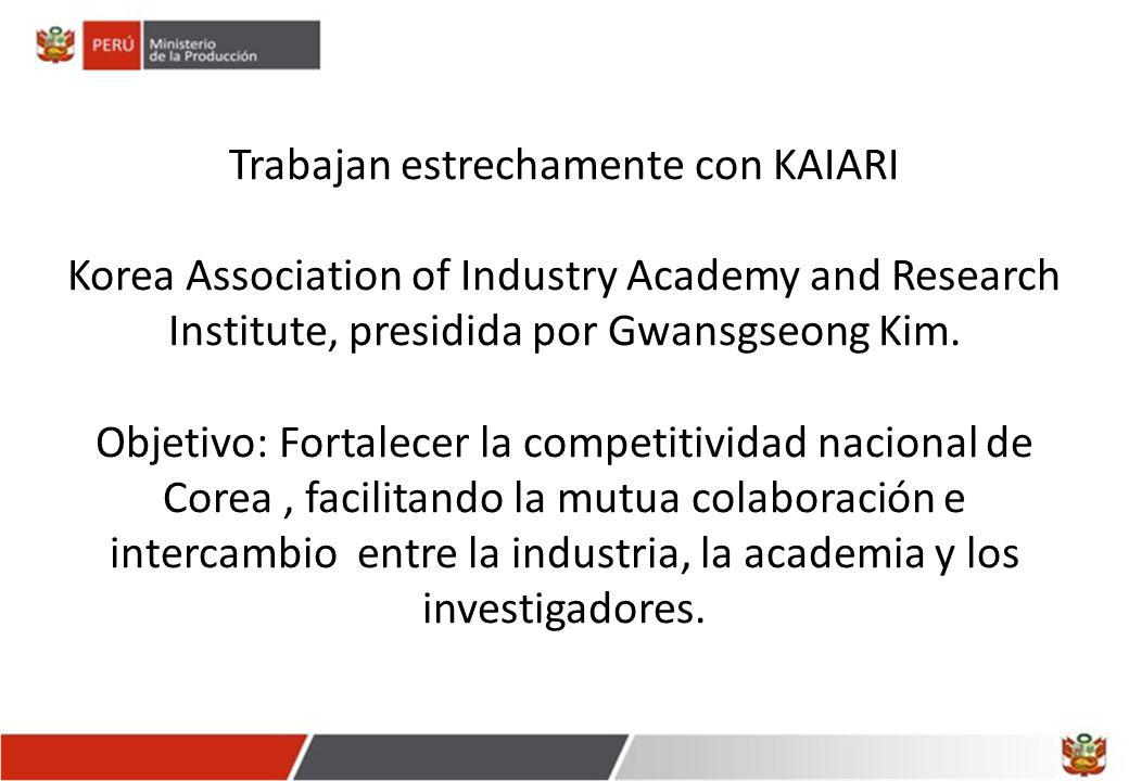 Trabajan estrechamente con KAIARI Korea Association of Industry Academy and Research Institute, presidida por Gwansgseong Kim. Objetivo: Fortalecer la