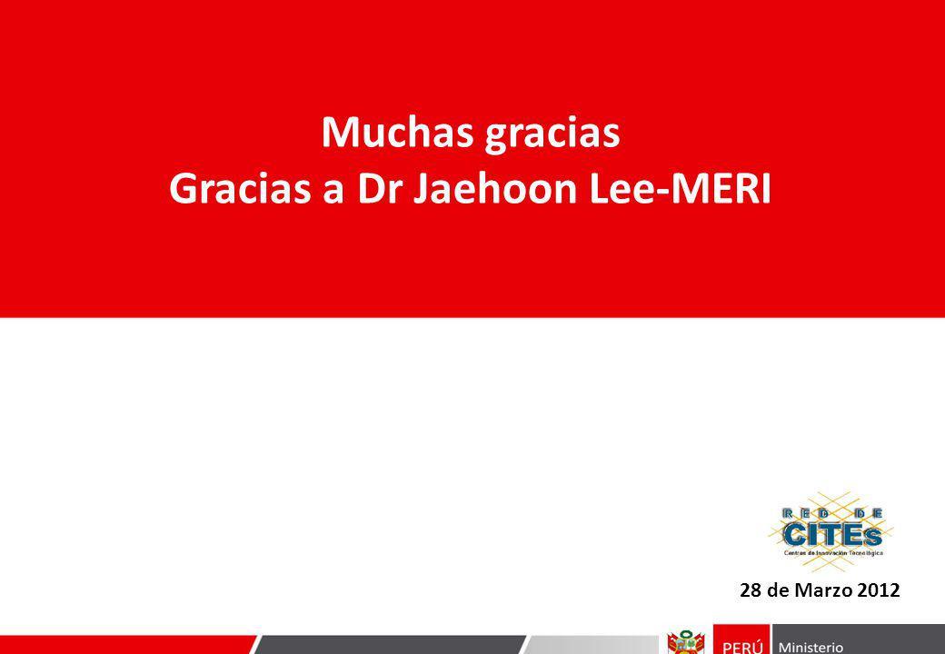 28 de Marzo 2012 Muchas gracias Gracias a Dr Jaehoon Lee-MERI
