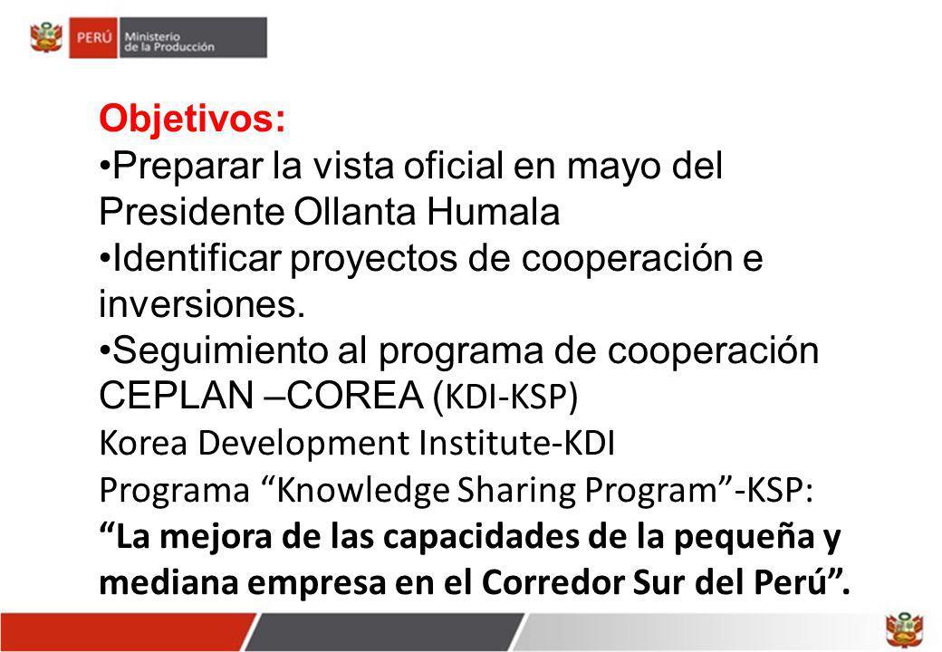 Objetivos: Preparar la vista oficial en mayo del Presidente Ollanta Humala Identificar proyectos de cooperación e inversiones. Seguimiento al programa