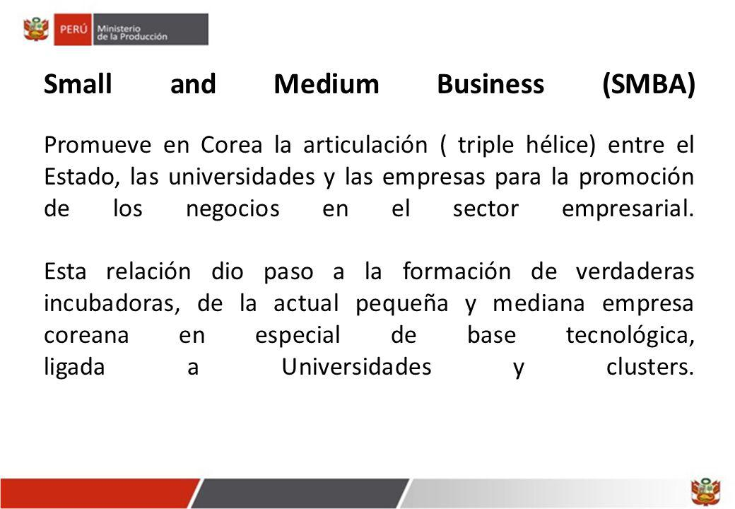Small and Medium Business (SMBA) Promueve en Corea la articulación ( triple hélice) entre el Estado, las universidades y las empresas para la promoció