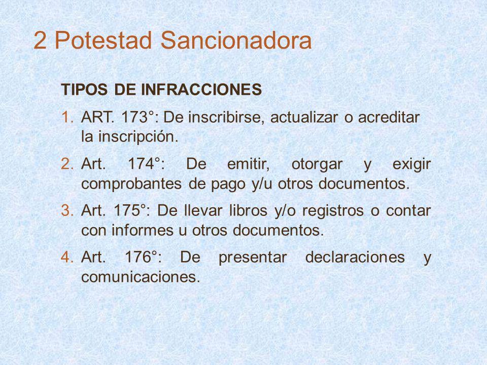 TIPOS DE INFRACCIONES 1.ART. 173°: De inscribirse, actualizar o acreditar la inscripción. 2.Art. 174°: De emitir, otorgar y exigir comprobantes de pag