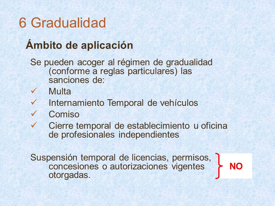 Ámbito de aplicación Se pueden acoger al régimen de gradualidad (conforme a reglas particulares) las sanciones de: Multa Internamiento Temporal de veh