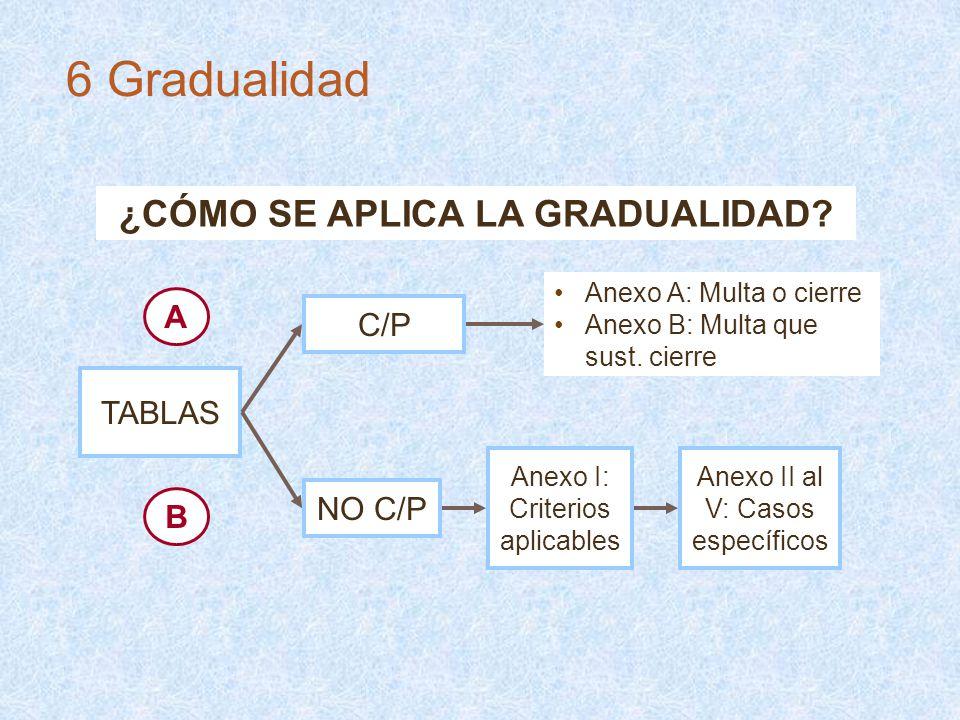 ¿CÓMO SE APLICA LA GRADUALIDAD? TABLAS C/P NO C/P Anexo A: Multa o cierre Anexo B: Multa que sust. cierre Anexo I: Criterios aplicables Anexo II al V: