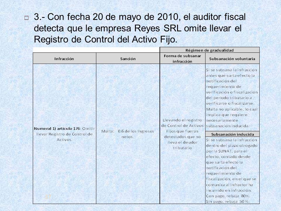 57 3.- Con fecha 20 de mayo de 2010, el auditor fiscal detecta que le empresa Reyes SRL omite llevar el Registro de Control del Activo Fijo.