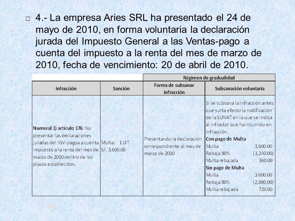 58 4.- La empresa Aries SRL ha presentado el 24 de mayo de 2010, en forma voluntaria la declaración jurada del Impuesto General a las Ventas-pago a cu