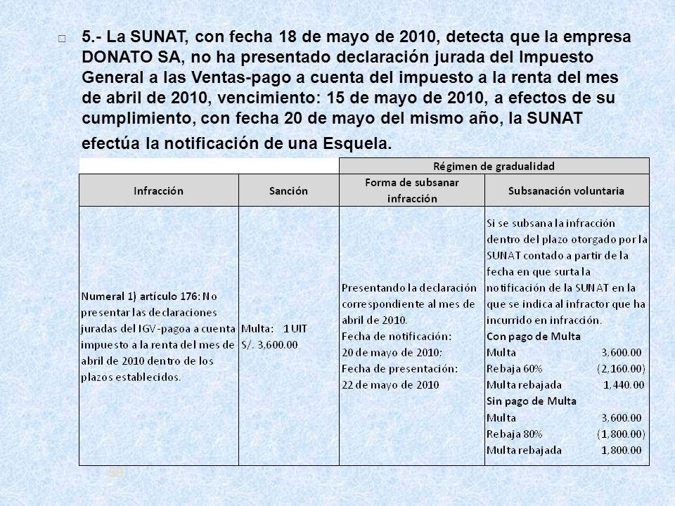 59 5.- La SUNAT, con fecha 18 de mayo de 2010, detecta que la empresa DONATO SA, no ha presentado declaración jurada del Impuesto General a las Ventas