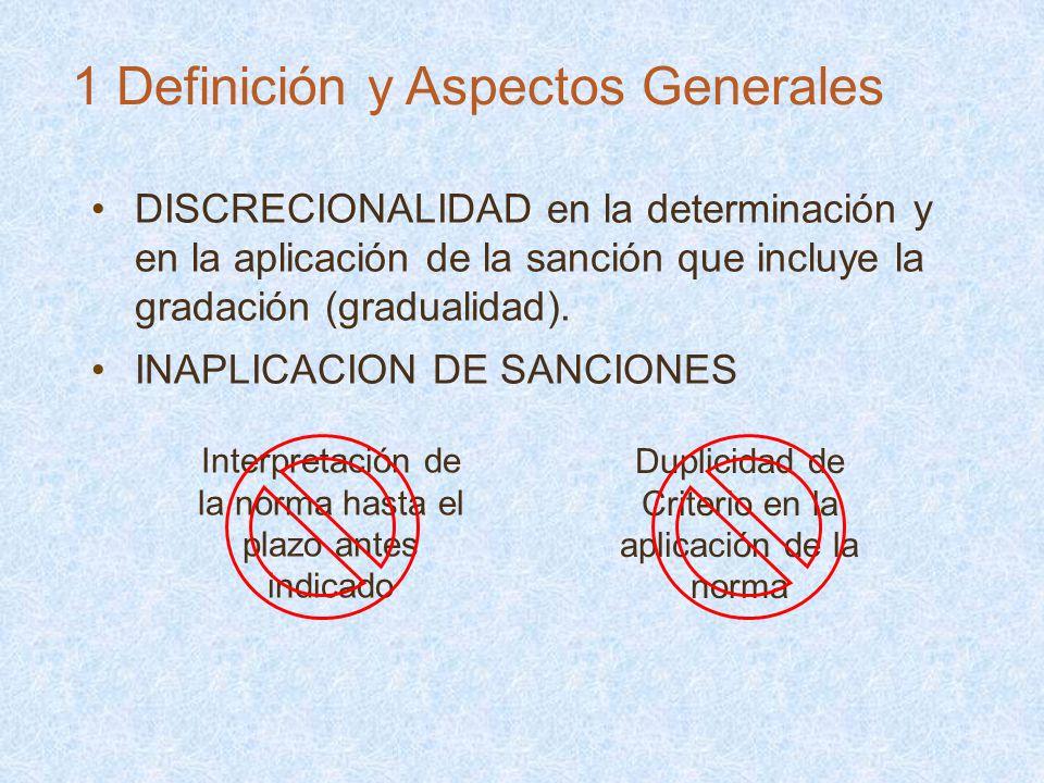 DISCRECIONALIDAD en la determinación y en la aplicación de la sanción que incluye la gradación (gradualidad). INAPLICACION DE SANCIONES Interpretación