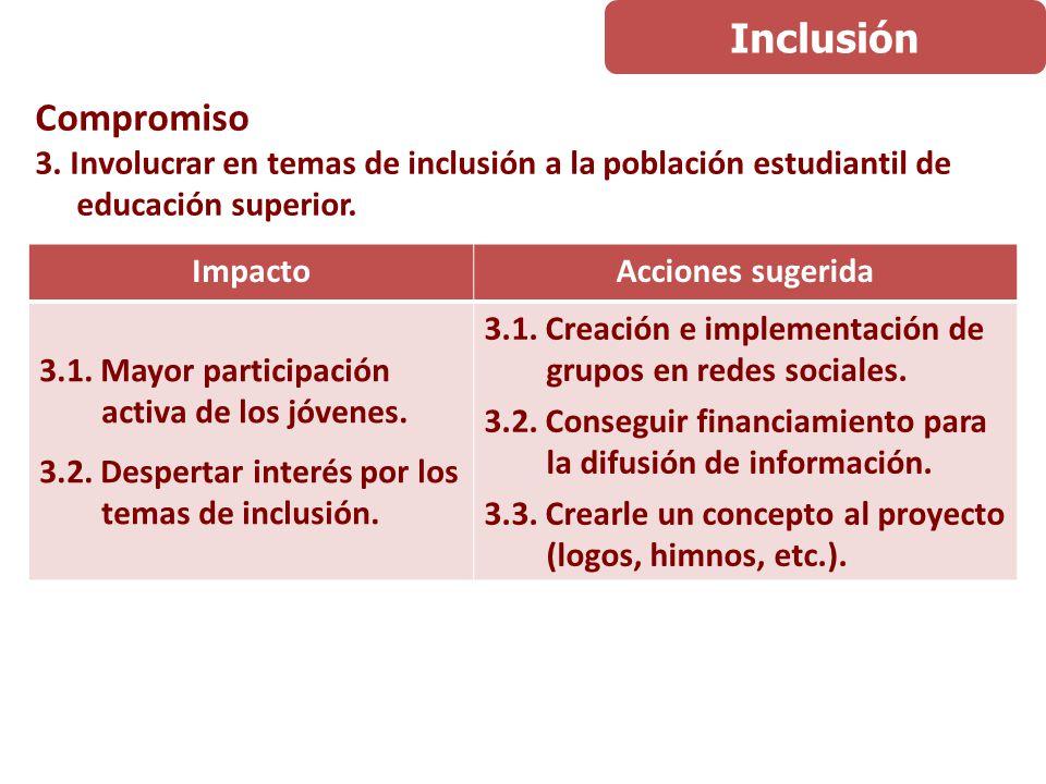 Compromiso 3. Involucrar en temas de inclusión a la población estudiantil de educación superior.