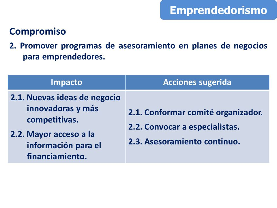 Compromiso 2. Promover programas de asesoramiento en planes de negocios para emprendedores.