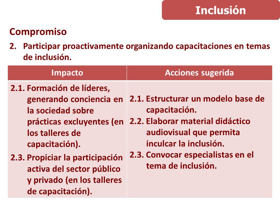 Compromiso 3.Involucrar en temas de inclusión a la población estudiantil de educación superior.