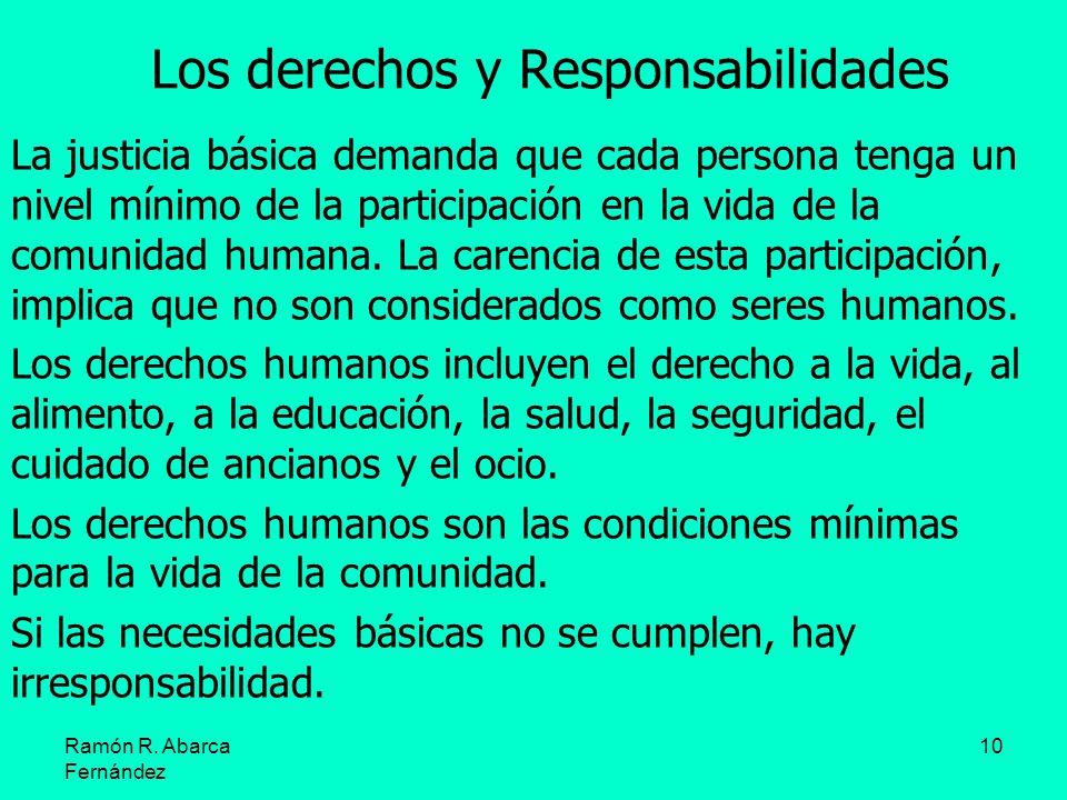 10 Los derechos y Responsabilidades La justicia básica demanda que cada persona tenga un nivel mínimo de la participación en la vida de la comunidad h