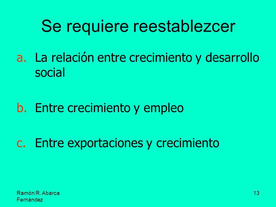 Ramón R. Abarca Fernández 13 Se requiere reestablezcer a.La relación entre crecimiento y desarrollo social b.Entre crecimiento y empleo c.Entre export