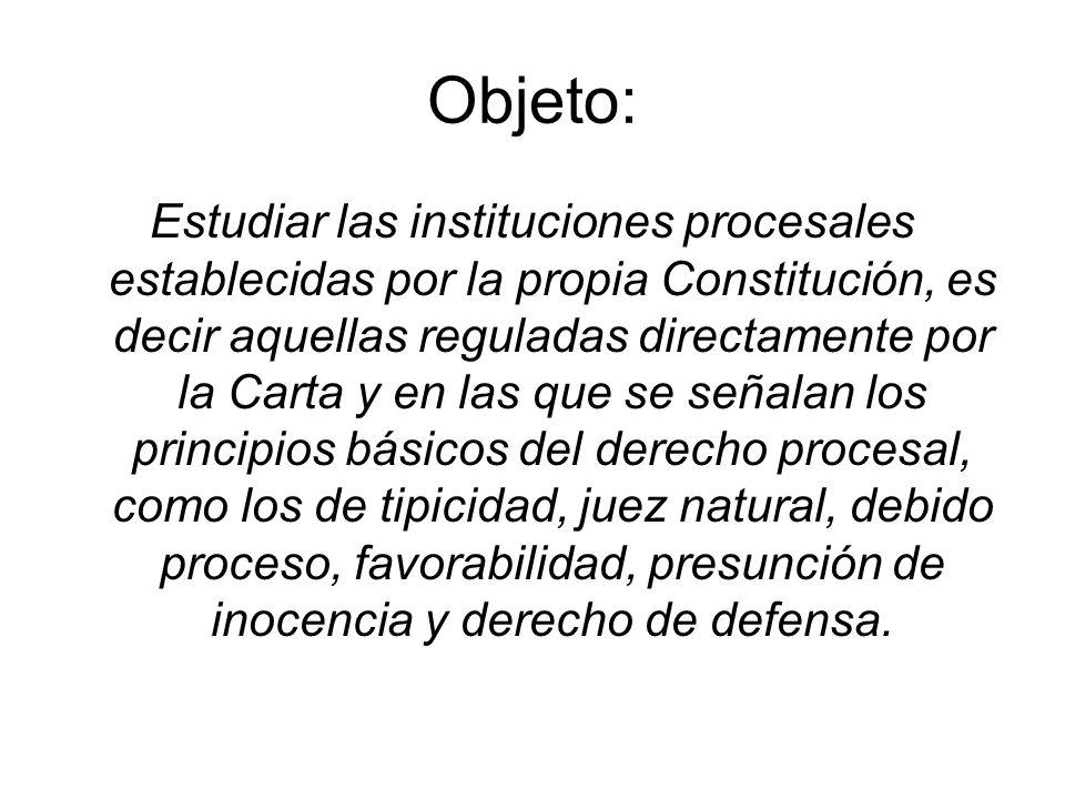 Objeto: Estudiar las instituciones procesales establecidas por la propia Constitución, es decir aquellas reguladas directamente por la Carta y en las