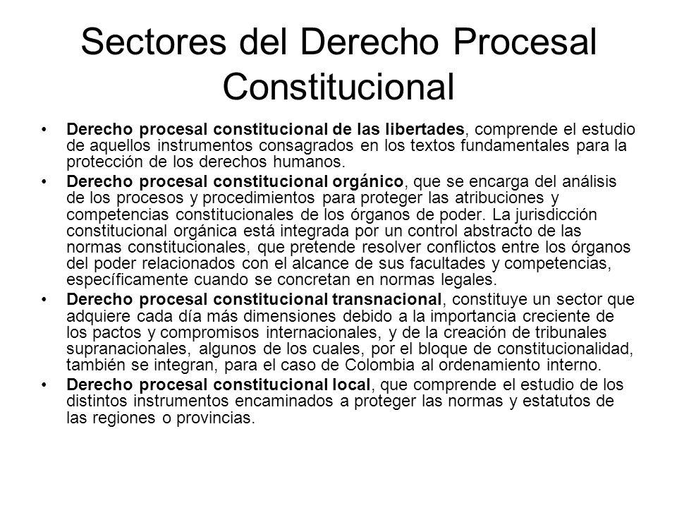 Sectores del Derecho Procesal Constitucional Derecho procesal constitucional de las libertades, comprende el estudio de aquellos instrumentos consagra