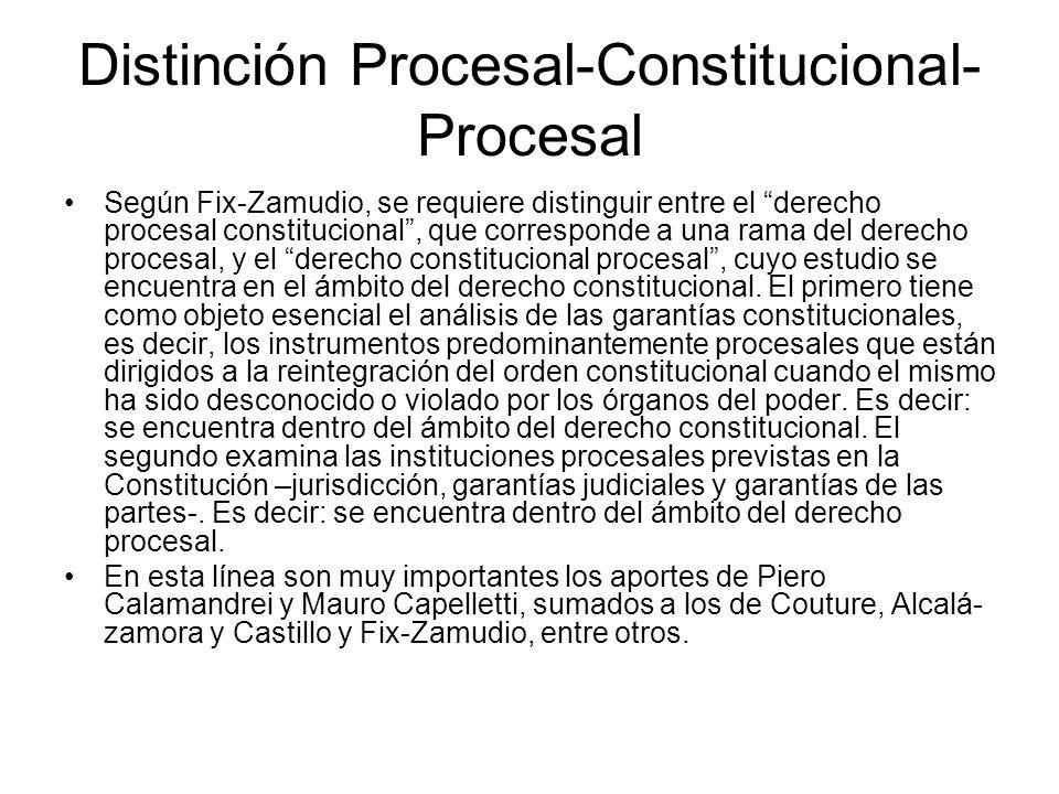 Distinción Procesal-Constitucional- Procesal Según Fix-Zamudio, se requiere distinguir entre el derecho procesal constitucional, que corresponde a una
